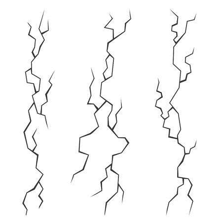 Wall Cracks Set on White Background. Vector Illustration