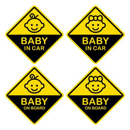 Baby on Board Sign Set. White Background. Vector Illustration.