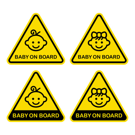 forewarning: Baby on Board Sign Set. White Background. Vector Illustration.