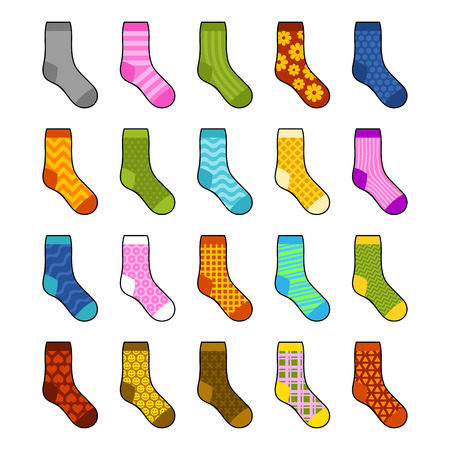 Socks Set with Different Color Patterns. Vector illustration