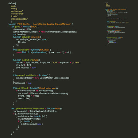 programming code: Program Code Listing, Abstract Programming Background. Vector Illustration