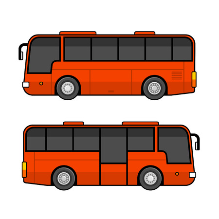 Red Bus Template Set on White Background. Vector illustration