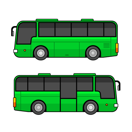 Green Bus Template Set on White Background. Vector illustration