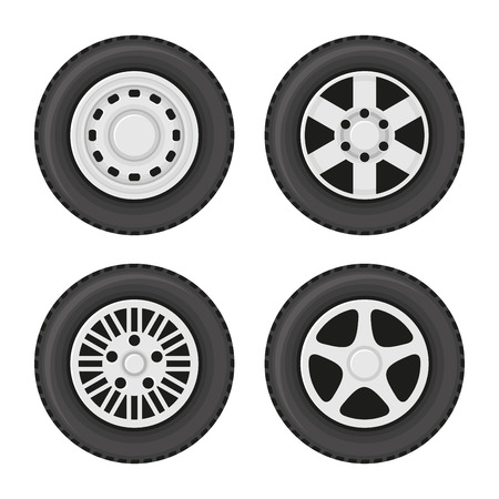 wheel rim: Car Wheels Icons Set on White Background. Vector illustration