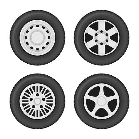 Car Wheels Icons Set on White Background. Vector illustration