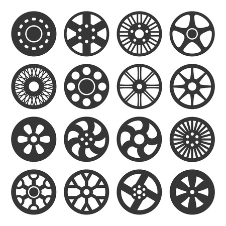 alloy wheel: Wheel Disks or Rims Icon Set. Vector illustration