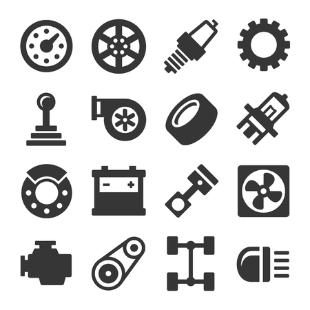 pad: Car Parts Icons Set on White Background. Vector illustration