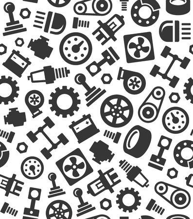 Auto Car Spare Parts Seamless Pattern Background. Vector illustration