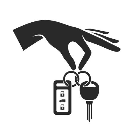 Hand Holding the Car Key Icon. Vector illustration
