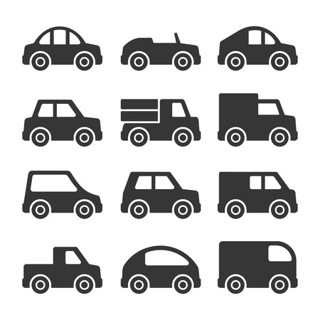 Car Icons Set on White Background. Vector illustration Stock Illustratie