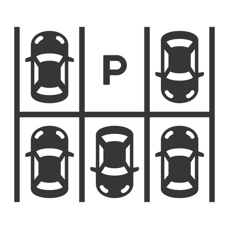 Top View Of Parking Lot. Vector illustration Vettoriali