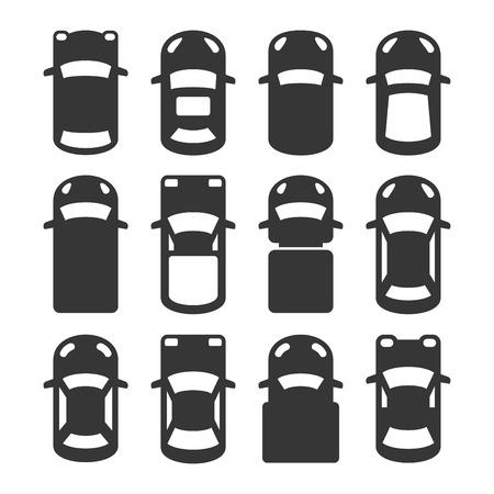 Opinión superior del coche de conjunto de iconos. ilustración vectorial Ilustración de vector