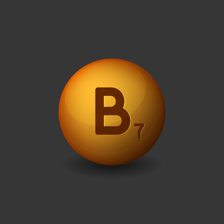 biotin: Vitamin B7 Orange Glossy Sphere Icon on Dark Background. Vector illustration