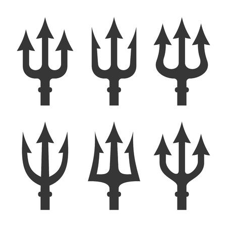 satan: Trident silueta establece en el fondo blanco. ilustración vectorial