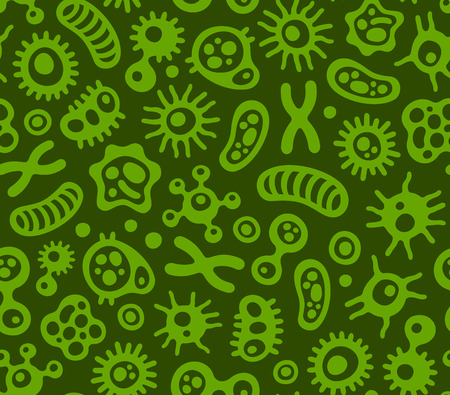 bacteriological: Microbes, Virus and Bacteria Green Seamless Pattern. Vector Illustration Illustration