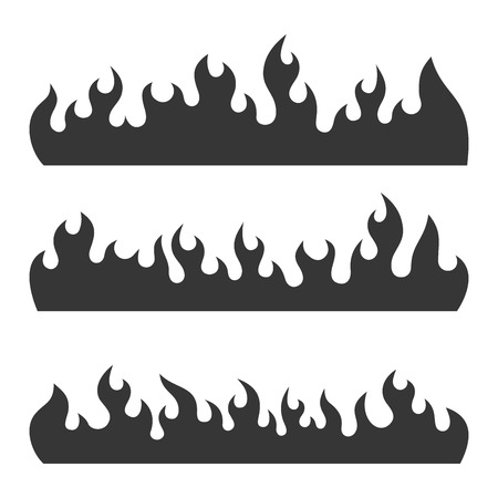 Fire Burning Flames Set on a White Background. Vector illustration