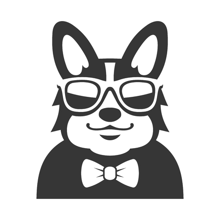 Welsh Corgi Pembroke wit Bowtie and Sunglasses Icon. Cartoon Hipster Style Vector illustration