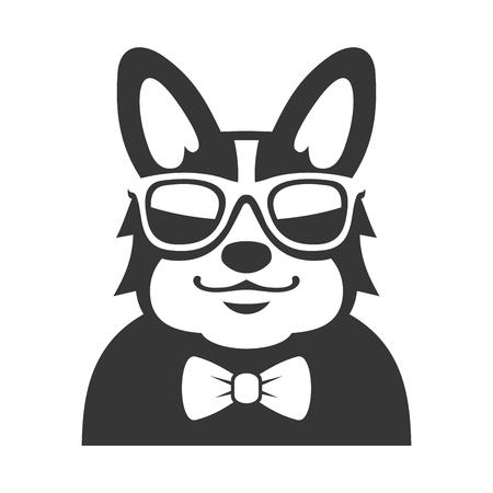 perros graciosos: Welsh Corgi Pembroke ingenio pajarita y gafas de sol de iconos. ilustración de dibujos animados del vector del estilo del inconformista Vectores