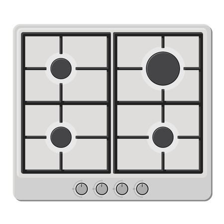 hob: Surface of White Gas Hob Stove. Vector illustration