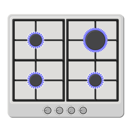 Surface of White Gas Hob Stove with Fire On. Vector illustration
