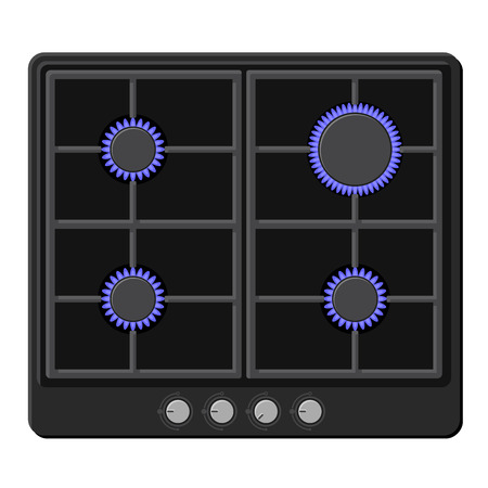 hob: Surface of Black Gas Hob Stove with Fire On. Vector illustration