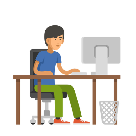 computer code: Programmer Writes Code for a Computer. Young Man Sitting at Desk. Vector illustration Illustration