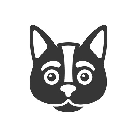 Black Cat Face Icon on White Background. Vector Illustration
