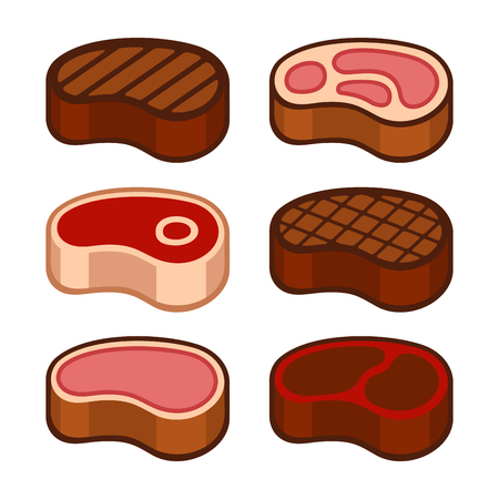 strip a cow: Steak Icons Set on White Background. Vector Illustration Illustration