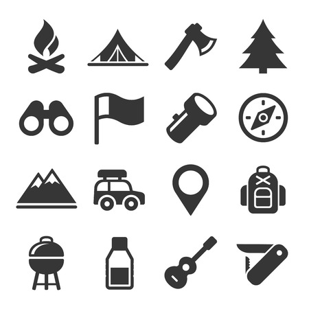boy scouts tent: Hiking and Camping Icons Set. Vector Illustration