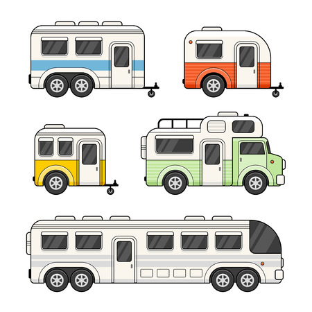 airstream: Caravan Camping Trailer Set on White Background. Vector illustration Illustration