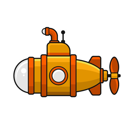 periscope: Yellow Submarine with Periscope Icon, Flat Style Design. Vector Illustration