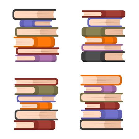 hardback: Stacks of Colorful Books Set. Vector