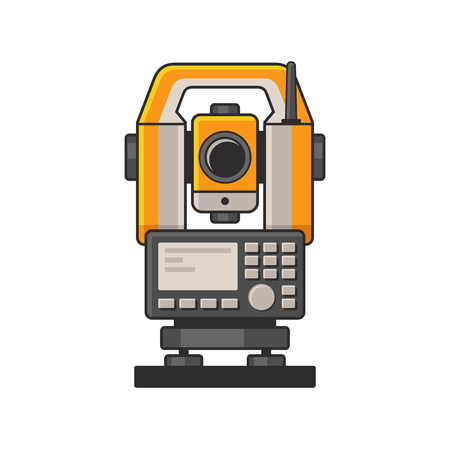 Geodetic Optical Measuring Laser Level Devices. Tachymeter, Theodolite Icon. Vector Stock Illustratie