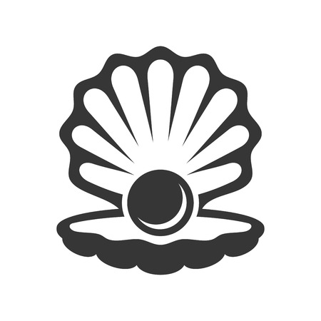 Black Pearl in Shell Icon. Vector