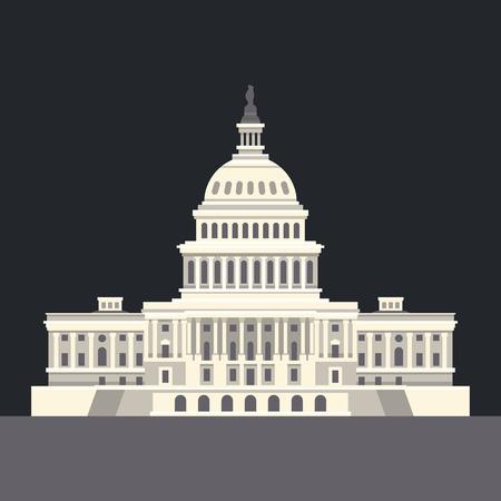 monumento: Capitolio Nacional de Estados Unidos en Washington, DC. Señal del americano. Vector