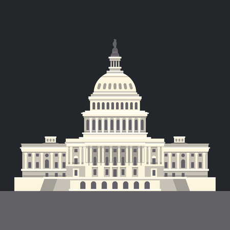 american cities: US National Capitol in Washington, DC. American landmark. Vector