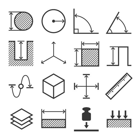 diameter: Measure Related Icons Set. Vector