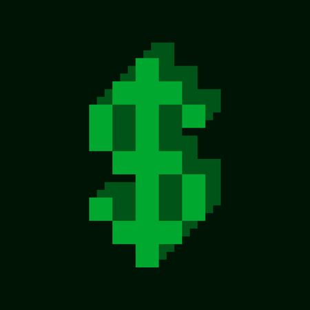 business loans: Dollar Symbol Pixel Style Design Icon. Vector