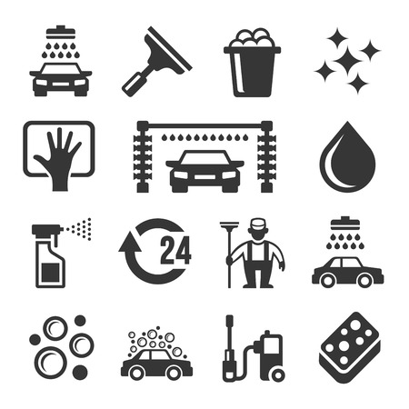 car wash: Car Wash Icons Set