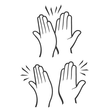 Dos manos dando un máximo de cinco iconos conjunto. Vector