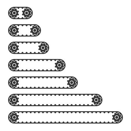 Conveyor Belt Line Set on White Background. Vector illustration Stock Illustratie
