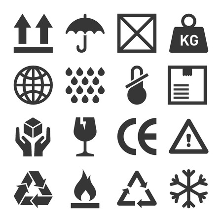 Packaging and Shipping Symbols Set. Vector
