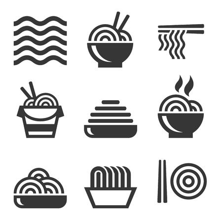 Icone di tagliatelle. Set di logos asiatici della barra degli alimenti. Vettore Archivio Fotografico - 73587361