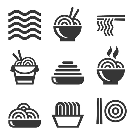 Noodle Icons. Asian Food Bar Logos Set. Vector