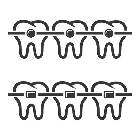 teeth white: Teeth Braces Icons Set on White Background. Vector