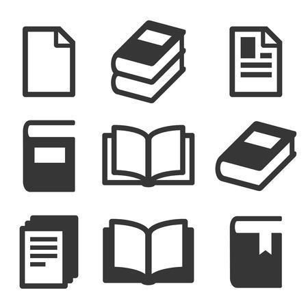 Book Icons Set on White Background. Vector Illustration
