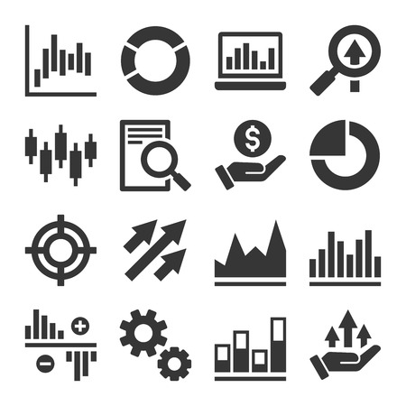 marketresearch: Stock Market Trading Icons Set. Vector Illustration