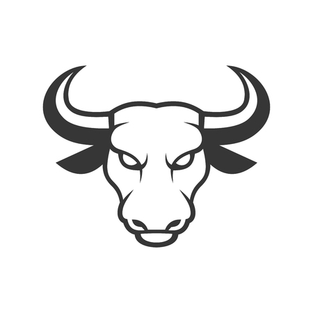 mad: Bull Face Logo. Business Icon on a White Background. Vector