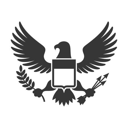 미국 대통령 상징. 방패 로고가 달린 독수리. 벡터