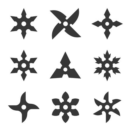 白い背景の上忍者の星のアイコン セット。ベクトル
